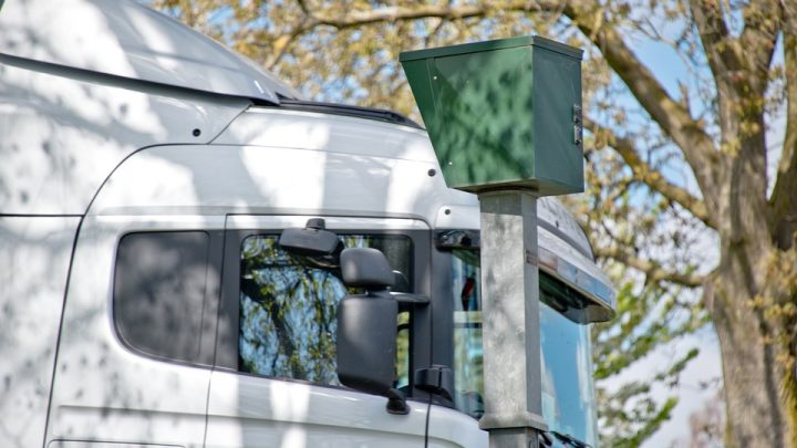 Speed camera next to a truck