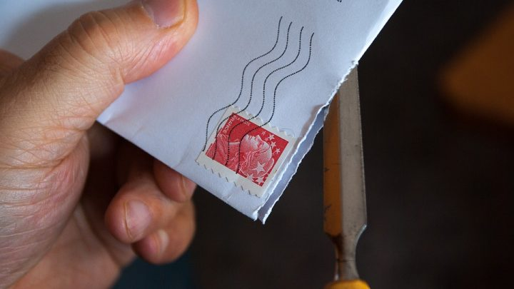 Mail with post stamp