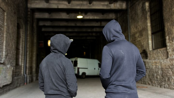 Teenage boys in hoodies