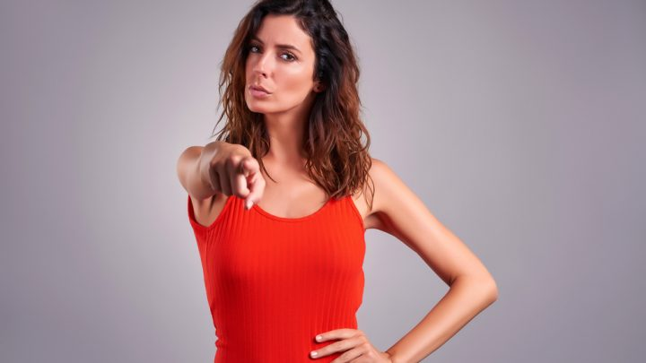 Woman pointing finger