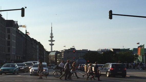 Pedestrian crossing at traffic lights