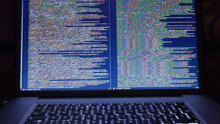 Code displayed on laptop