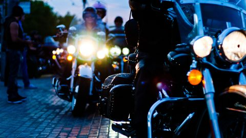 Bikies riding at night