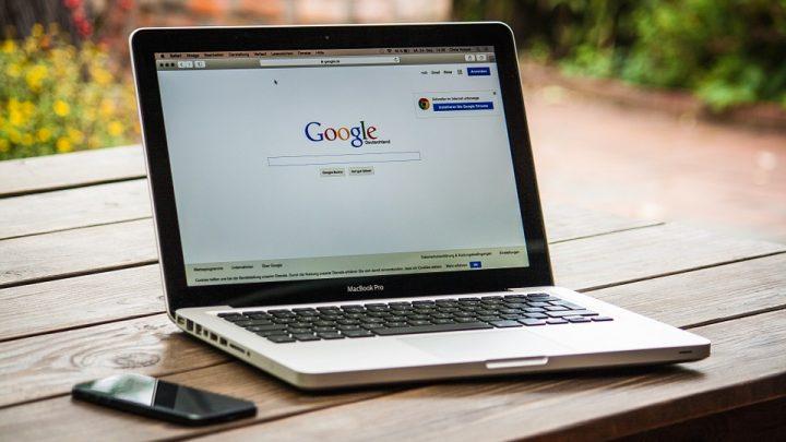 Google displayed on a laptop