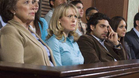 Jurors watching a trial