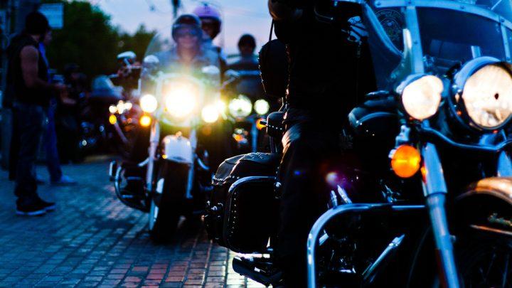 Bikies riding at night