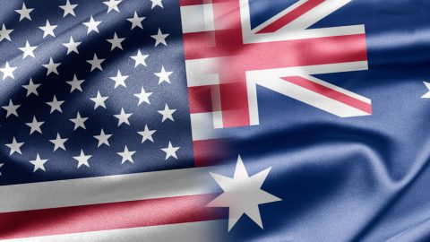 Australian and US flag put together into a montage