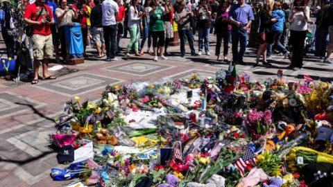 Boston bombing flower memorial