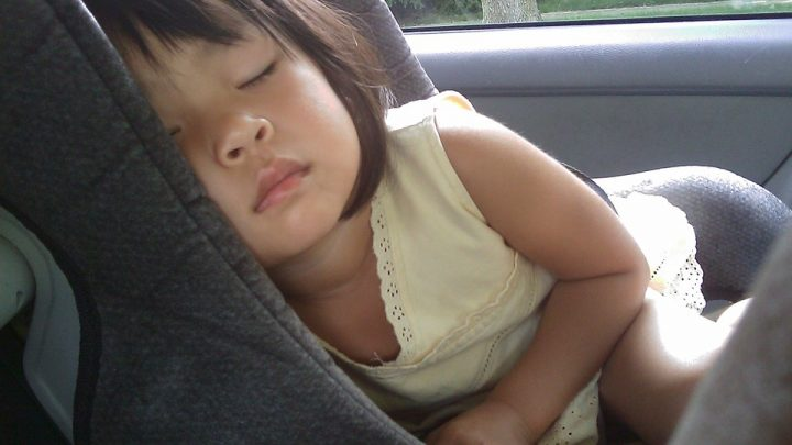 Sleeping child in car