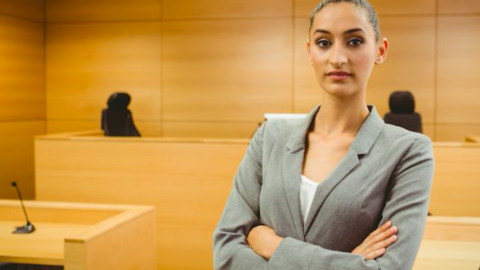 Woman lawyer in a courtroom