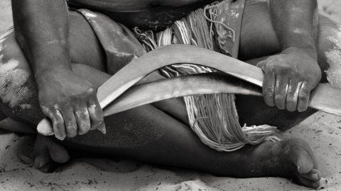 Aboriginee with boomerang