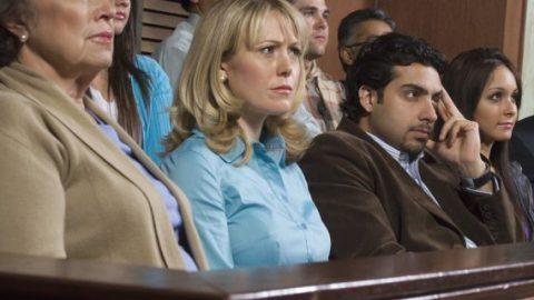 Jurors watching trial