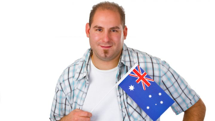 Man holding Australian flag
