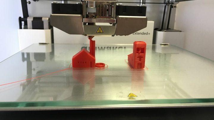 3d printer printing a house