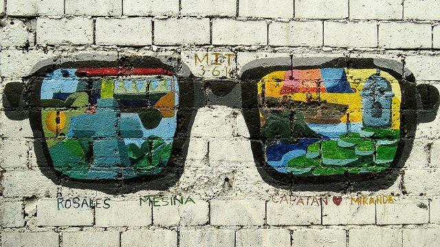 Street art of sunglasses