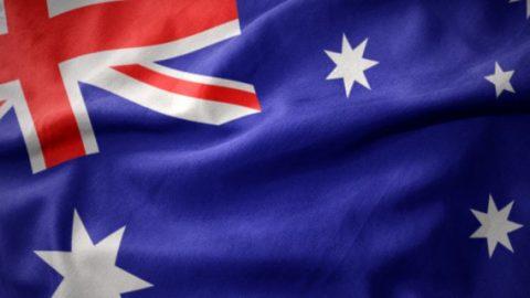 Australian flag waving around