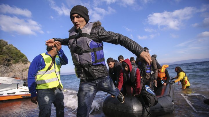 Refugees coming off boat
