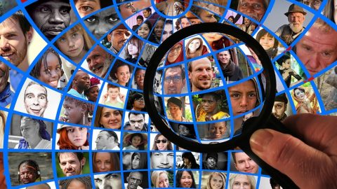 Magnifying glass focus on people