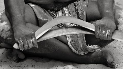 Aboriginal with boomerang