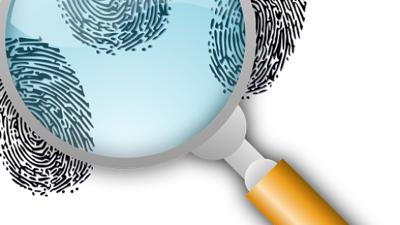 Fingerprint under magnifying glass