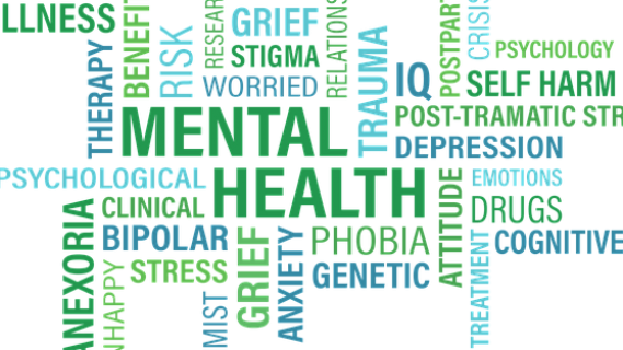 Mental health words poster