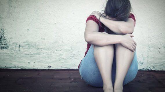 Domestic violence and upset woman