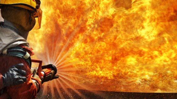 Firefighter fights blaze