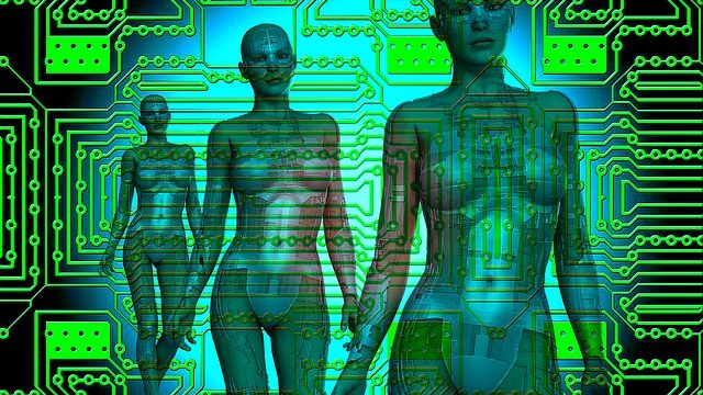 Micro chip and human figures