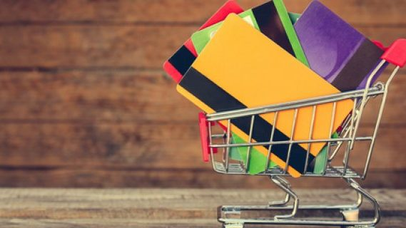 Credit cards in a trolley