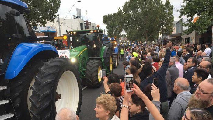 Protest around tractors