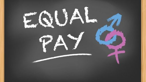 Equal pay labelled on a chalkboard