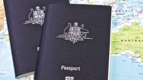 Australian passports on a map