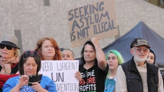 Seeking asylum protest