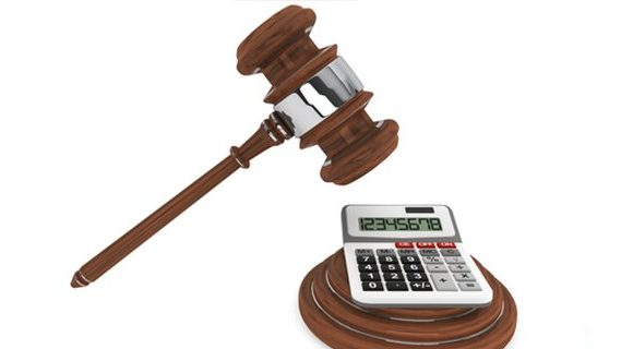 Calculator under gavel