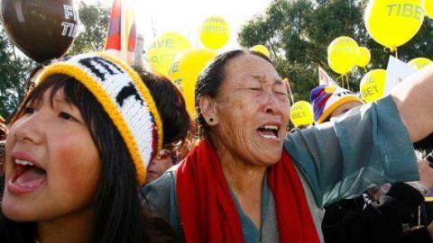Tibetan refugees protest