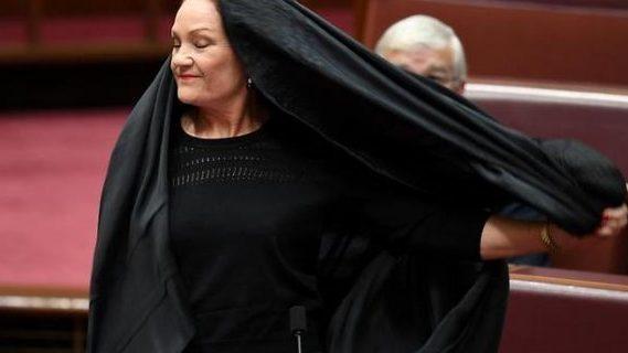Hanson's burqa stunt