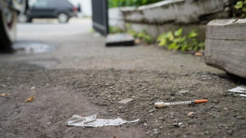 Syringe on the ground