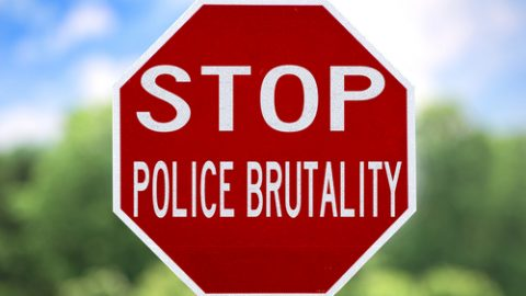Police brutality stop sign