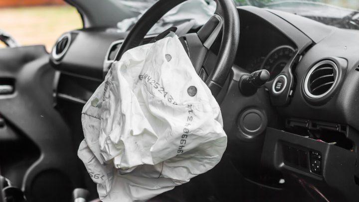 Airbag deflated from a car crash