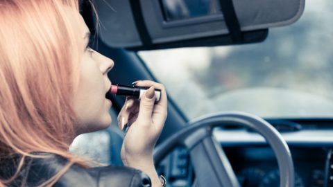 Putting makeup on while driving