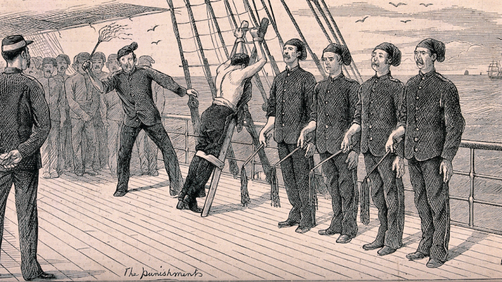 Sailor punishment by beating drawing