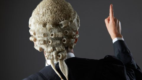 Barrister wearing a wig