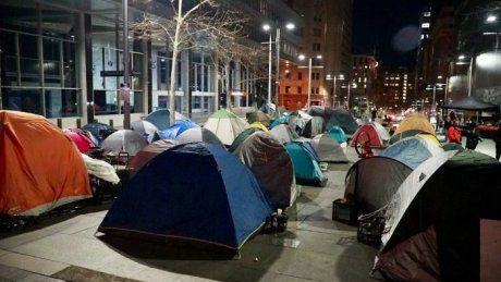 Tents up at night