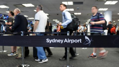 Line up at Sydney Airport