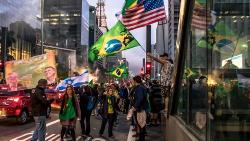 Brazil and American flags