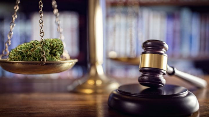 Drugs in court with gavel
