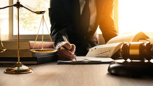 Lawyer writing