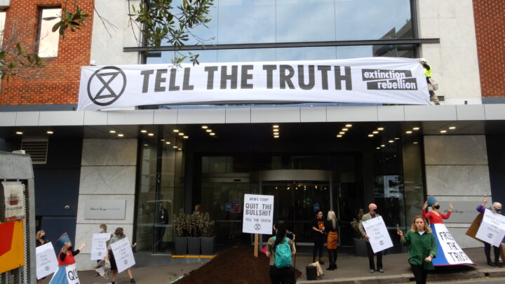 Quit the Bullshit and Tell the Truth News Corp, Demands Extinction Rebellion