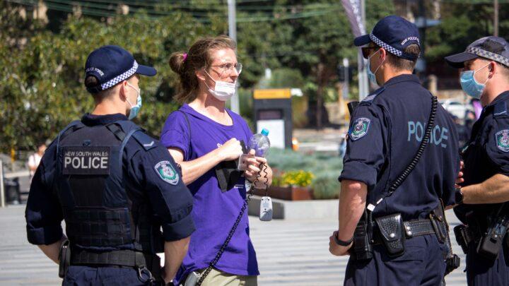 Police accosting Sydney University student and staff member Kelton Muir. Photo credit Aman Kapoor