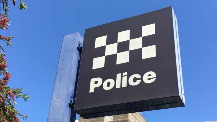 Police Sign in blue